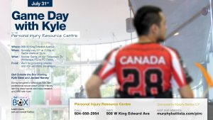 GAME DAY WITH KYLE @ Personal Injury Resource Centre | Vancouver | British Columbia | Canada