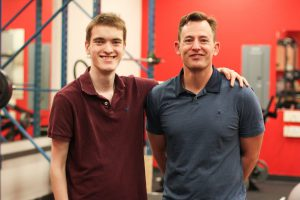 Scholarship recipient Pierce Pineau, left, with Murphy Battista's Scott Stanley.